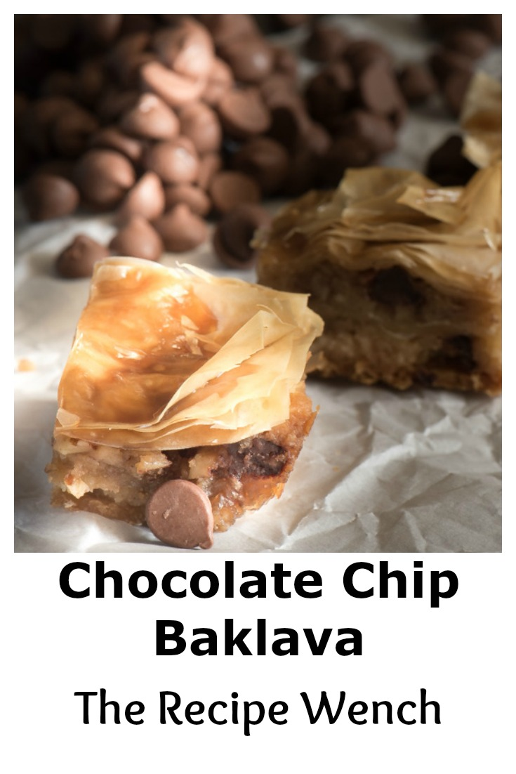 Chocolate Chip Baklava -- a beautiful twist on tradition. Topped off with a drizzle of brown sugar vanilla glaze. Save time with store-bought phyllo sheets.   The Recipe Wench