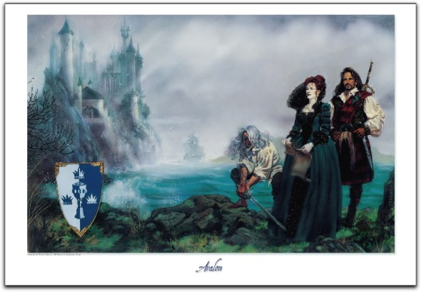 An image of Avalon with the queen and two men near the sea