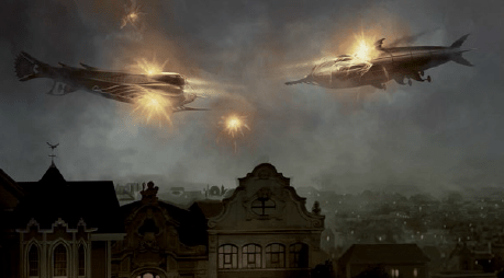 Ships in the air with bright lights above a victorian looking city