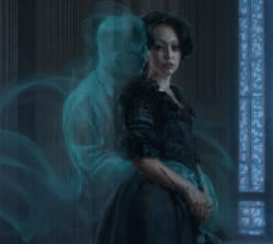 A woman dressed in black hugged from behind by a ghost