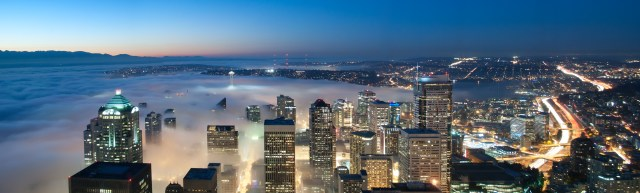 Panoramic view of Seattle with the fog overtaking the city