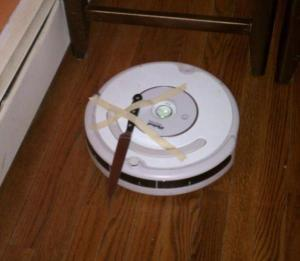 Roomba with a knife taped on