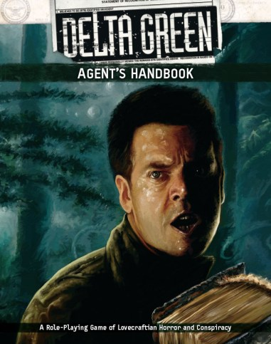 Delta Green Agent Handbook Cover. Shows a man looking fearfully to the side in the woods, while carrying a book.