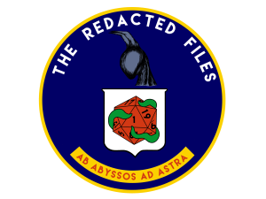 TRF logo, reminiscient of CIA seal, with a night gaunt in profile, a white shield with a red d20, 1 pointing up, and tentacles wrapped around it. At the bottom it reads Ab abyssos ad astra