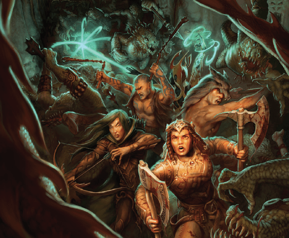 Illustration for 13th age shows  a party of four fighting through a group of grasping monsters