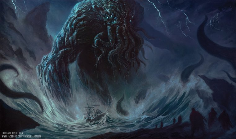 Cthulhu rises in the ocean, towering over a ship