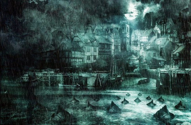 A group of Deep Ones swim creepily towards the shore of Innsmouth at night. It's raining heavily and the moon shows from behind clouds.