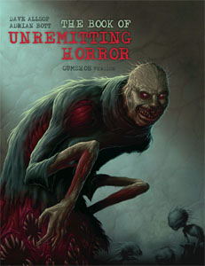 Cover of the book of unremitting horror. Shows a creepy creature with long arms grinning menacingly at the viewer