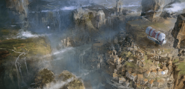 Overhead view of a city full of dirigibles and mist