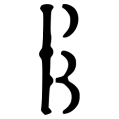 Peculiar Books logo, a P stacked on a B