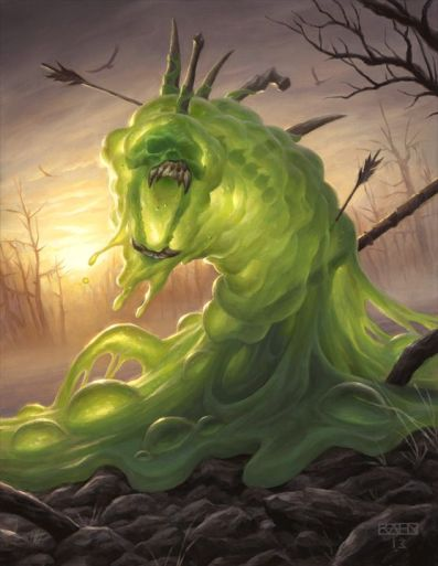 Green slime with bones and arrows filling it opens it's maw toward the viewer