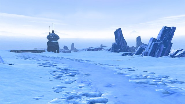 the icy landscape of hoth with some ruined structures
