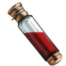 A vial of a red liquid