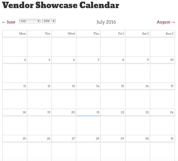 Vendor Showcase calendar is LIVE!