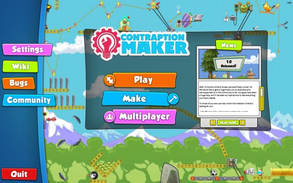 Contraption Maker Review Screenshot Wallpaper Title Screen