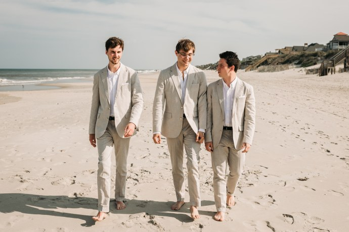 Groom and groomsmen photo at corolla beach