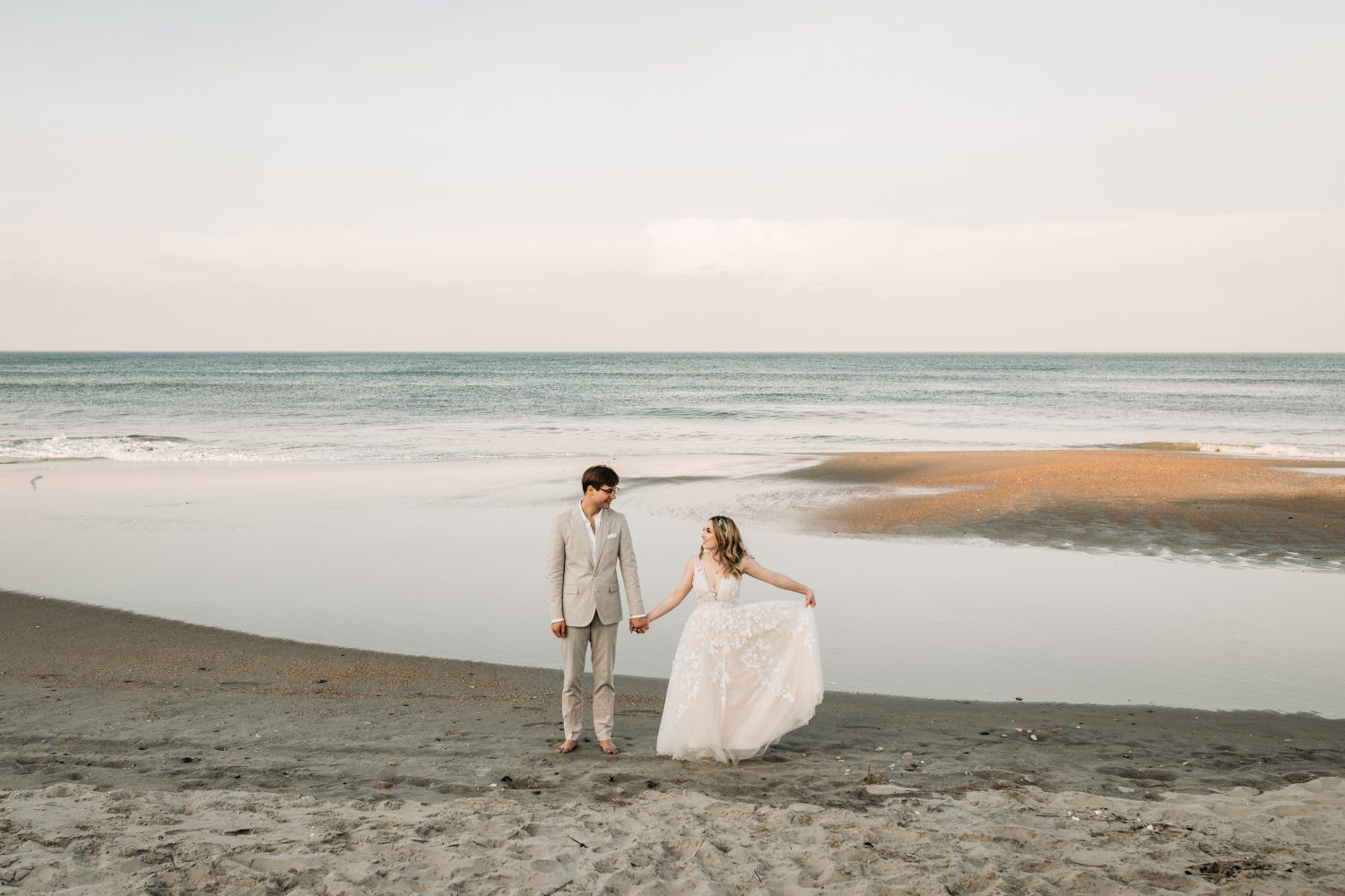 A bride and Groom photo at corolla Beach