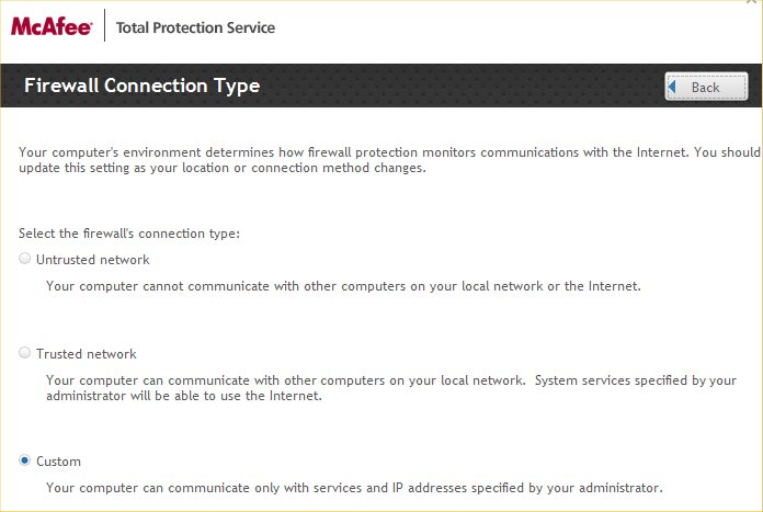McAfee Firewall Connection Type</p> <p style=