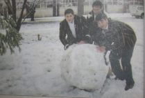 Queens' College pupils from left; Andre Smith, Dalton Phillips and Jean-Claude Gillat had fun in the blazing snow