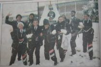 Excited KwaKomani High School pupils making use of the rare opportunity of a snowfall in Komani.