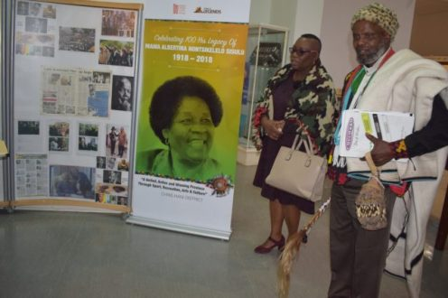 The department of sport, recreation, arts and culture (Dsrac) Nompendulo Nyamazana with chief Langaliyakhanya Mlanjeni at the Queenstown Frontier Museum over the week