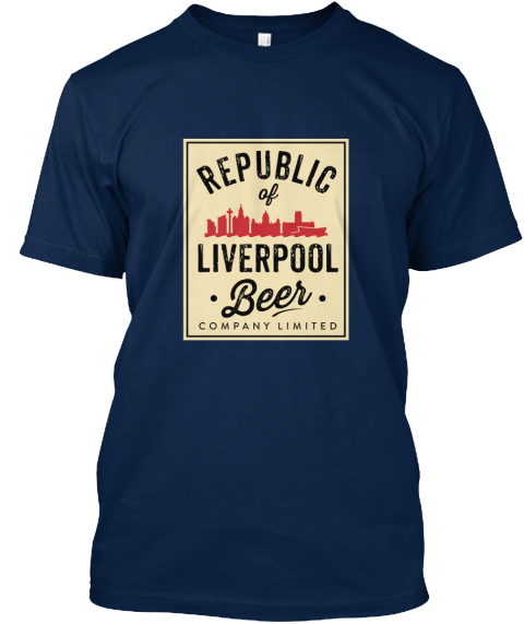 Navy Republic of Liverpool beer company T-shirt with beige logo