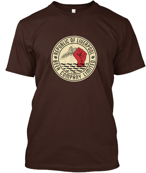 Brown Republic of Liverpool beer company T-shirt with beige logo
