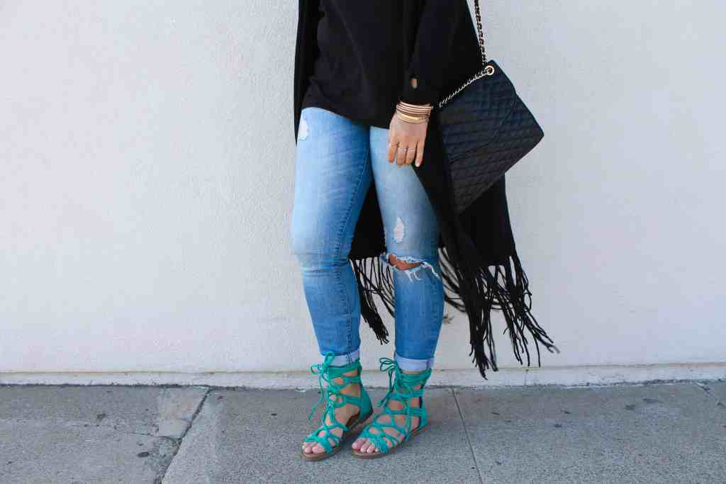 Republic of Rose Teal Lace Up Sandals Outfit Post Style Blogger