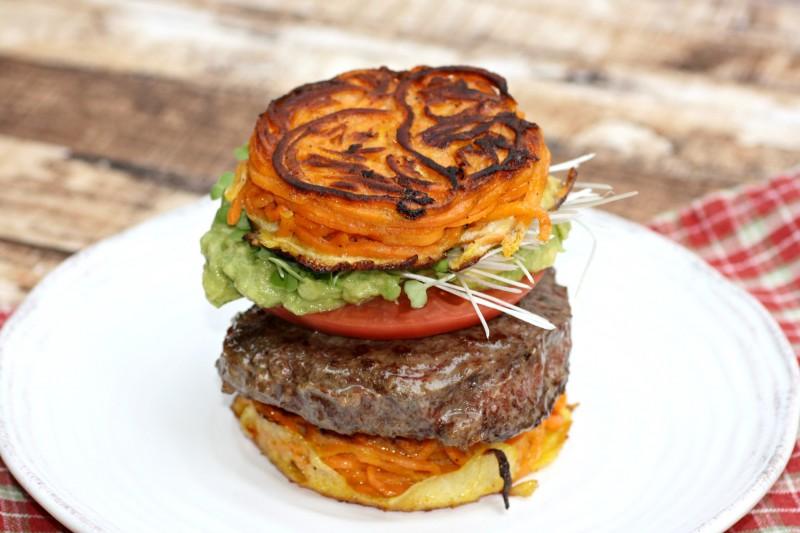 2200 burger on sweet potato bun closer side