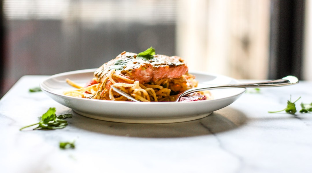 blood orange salmon with parsnip noodles