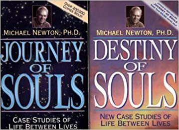 Two covers of books written by Michael Newton. Journey of Souls and Destiny of Souls