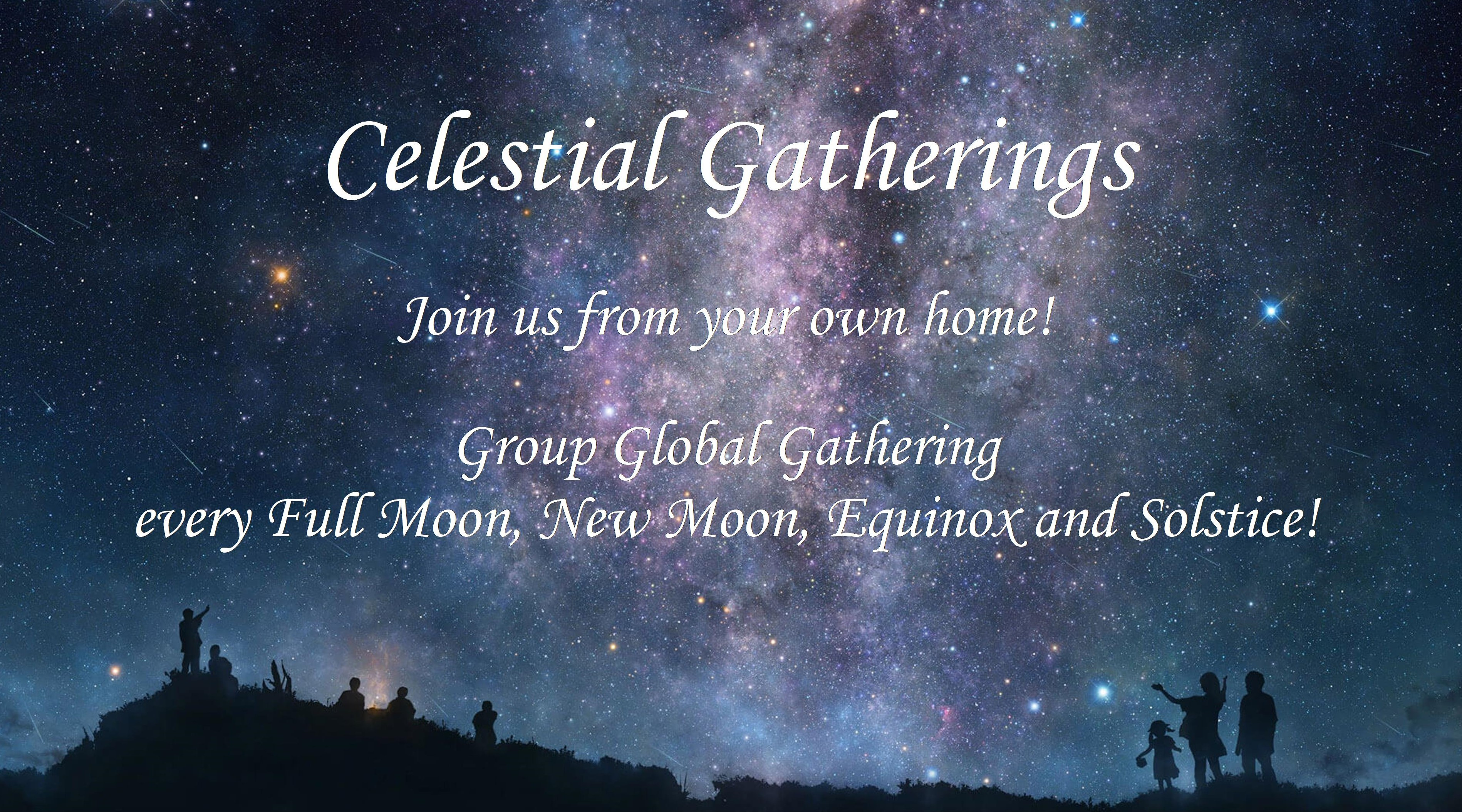 Celestial Gathering Banner with Night Sky Background