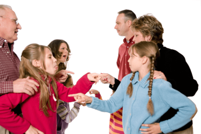 Two families arguing and in need of a SoulCleanse®