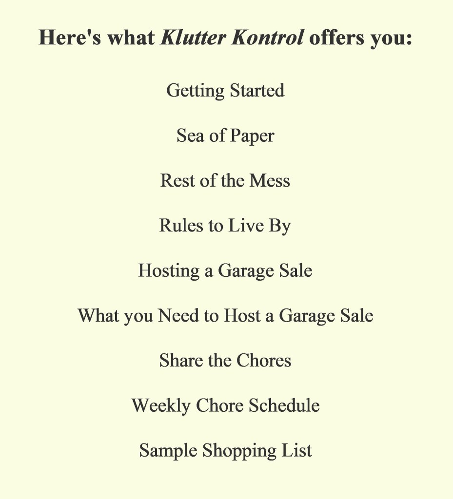 Klutter Kontrol chapter titles