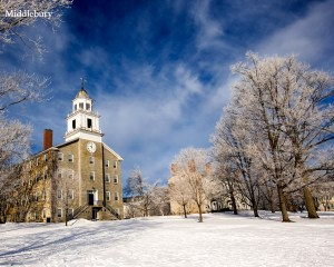 Photo courtesy of Middlebury College. But this picture does NOT capture the grey gloom of a Vermont blizzard, only the pretty aftermath.