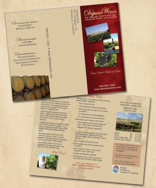 Deparo Winery Tri-fold Brochure
