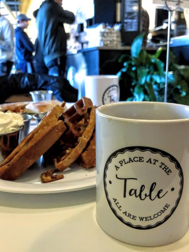 Coffee and breakfast at A Place at the Table in downtown Raleigh, NC