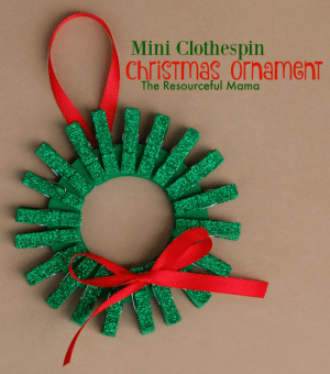 Mini Clothespin Christmas Wreath Ornament For Kids The