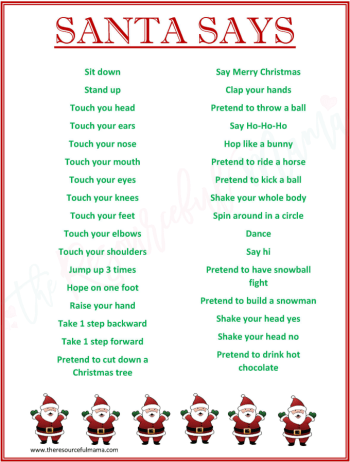 """This FREE PRINTABLE """"Santa Says"""" game is a fun spin on Simon Says. It's a low prep, super fun game for Christmas parties. It works great for school classroom parties."""