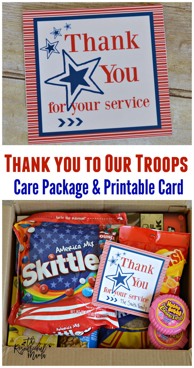 Military Care Package With Free Printable Card