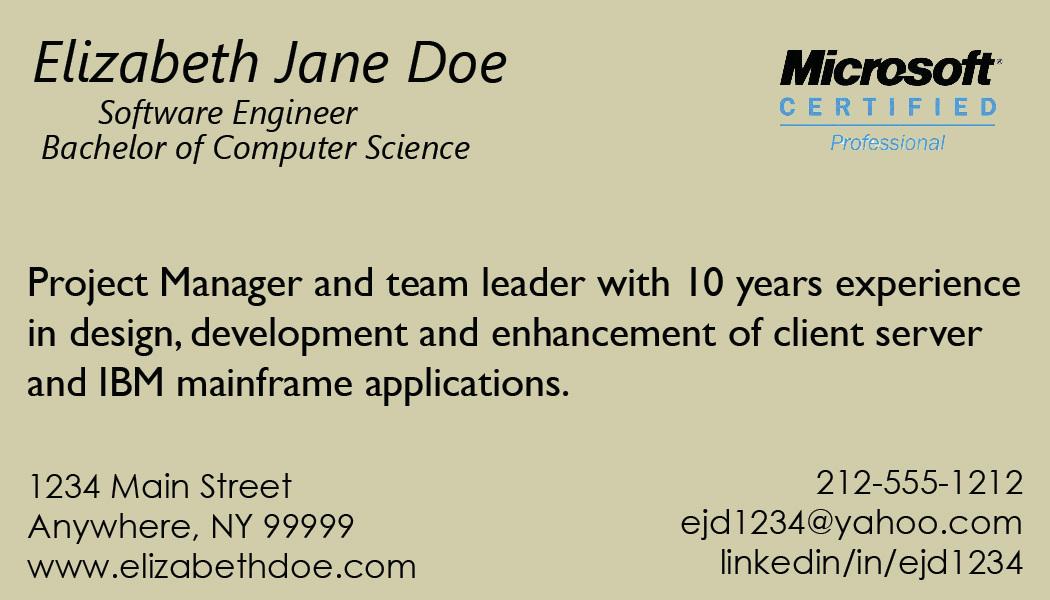 contemporary resume business card