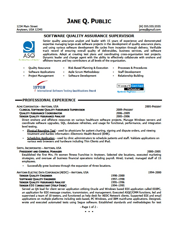 Qa Resume Sample | Resume Cv Cover Letter