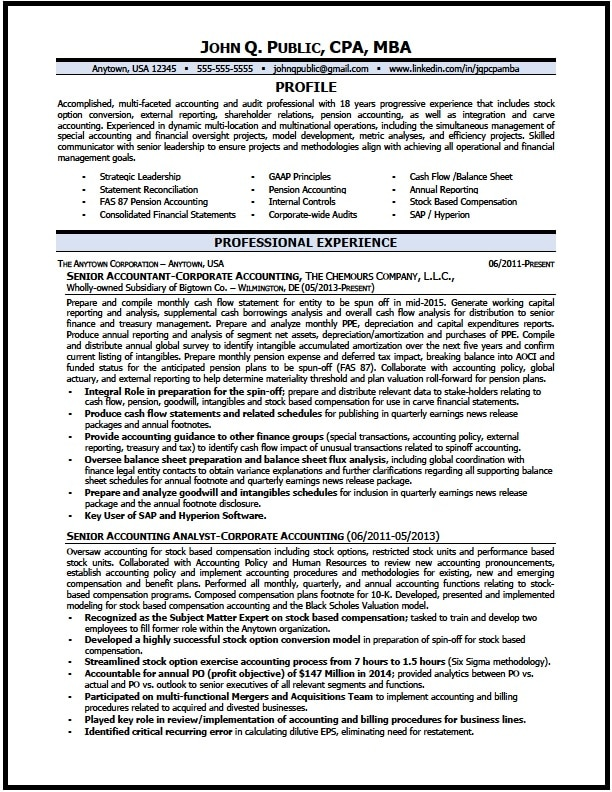 Corporate Accountant Resume - Resume Sample