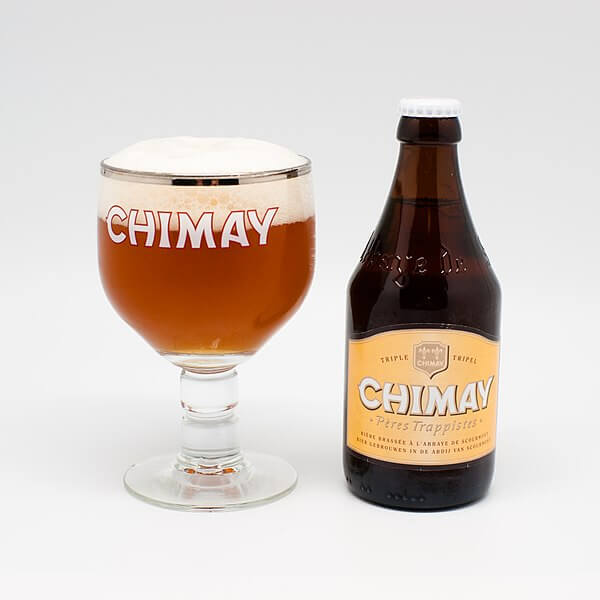 Belgian beer Chimay glass and bottle