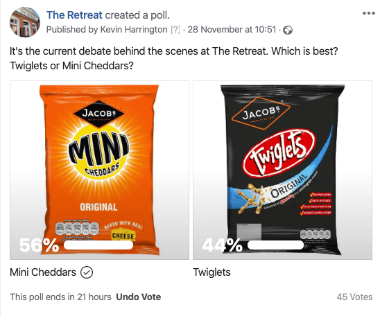Mini Cheddars vs Twiglets, the Facebook vote