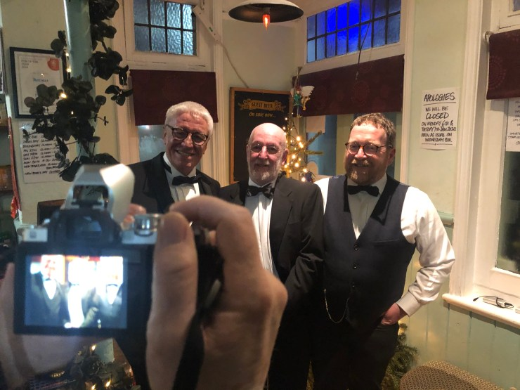 Black tie trio: Brian Moignard, Bill Hughes and Wyn Moseley at The-Retreat pub in Reading