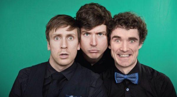 Three men in black shirts