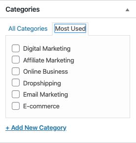 categories of my website