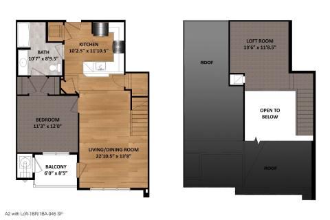 1 Bed / 1 Bath / 945 sq ft
