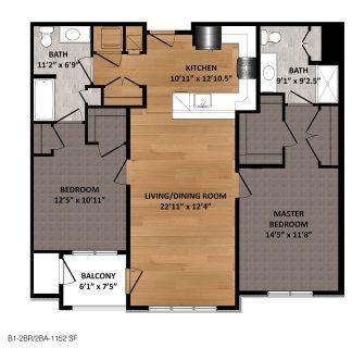 2 Bed / 2 Bath / 1,152ft²
